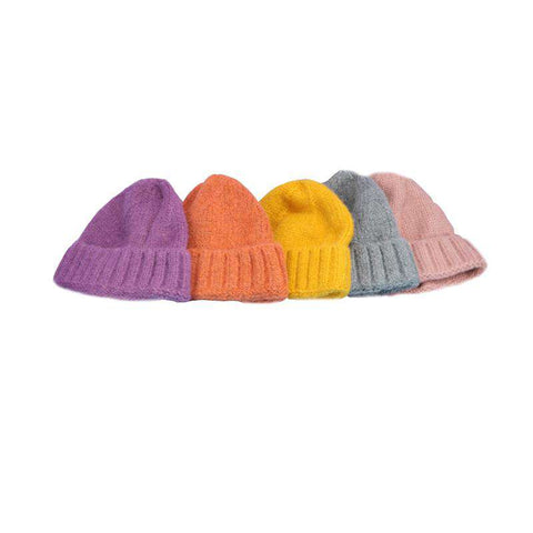 Solid-color Stitch Knit Beanie Hat gallery 15