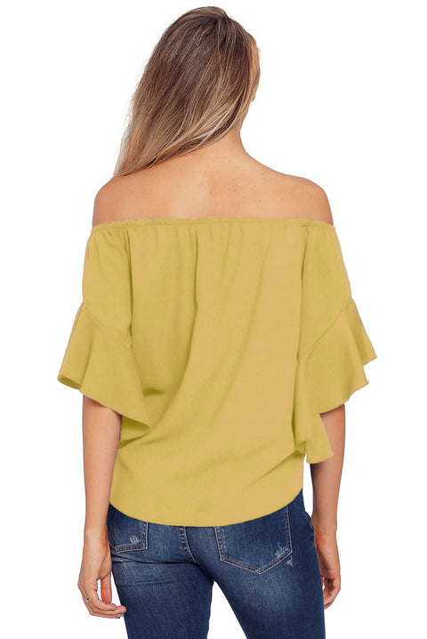 Yellow Off The Shoulder Knot Front Top gallery 5