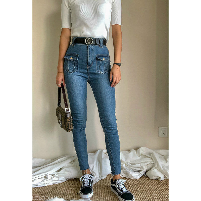 High Waist Skinny Jeans With Metal Buckle Pocket