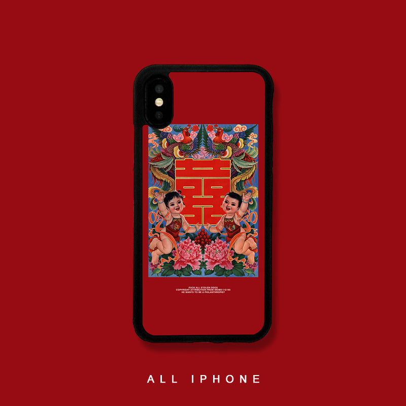 Vintage Chinese Character Oriental Figure Print iPhone Case