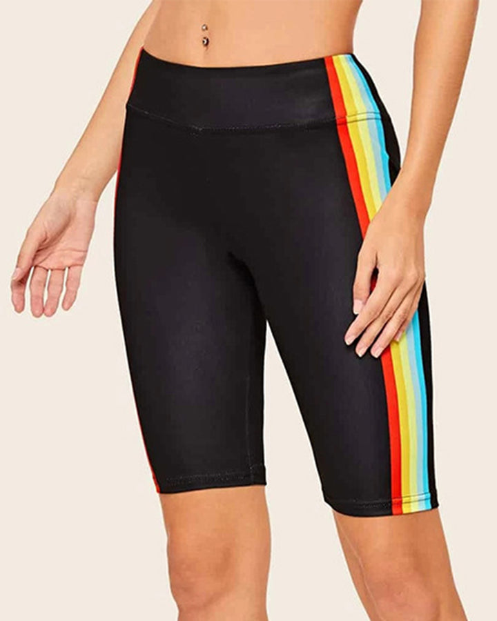 Colorful Striped Side High Waist Sports Biker Shorts gallery 1