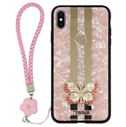 Butterfly Rhinestone Mirror Phone Case for Samsung with Hand Strap gallery 6