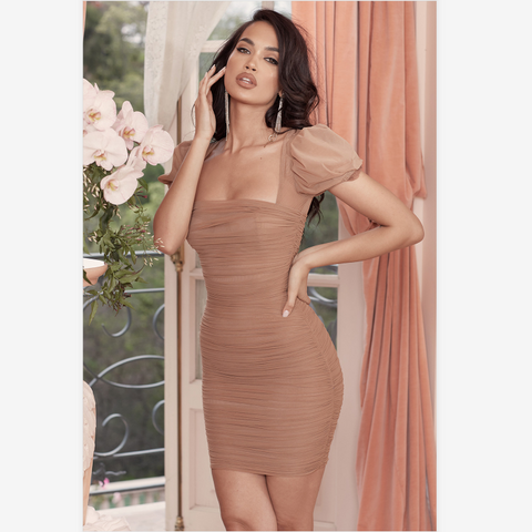 Square Neck Mesh Puff Sleeve Ruched Bodycon Dress