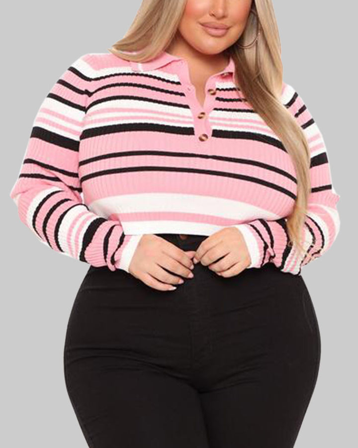 Striped Button Up Bodycon Crop Sweater gallery 12