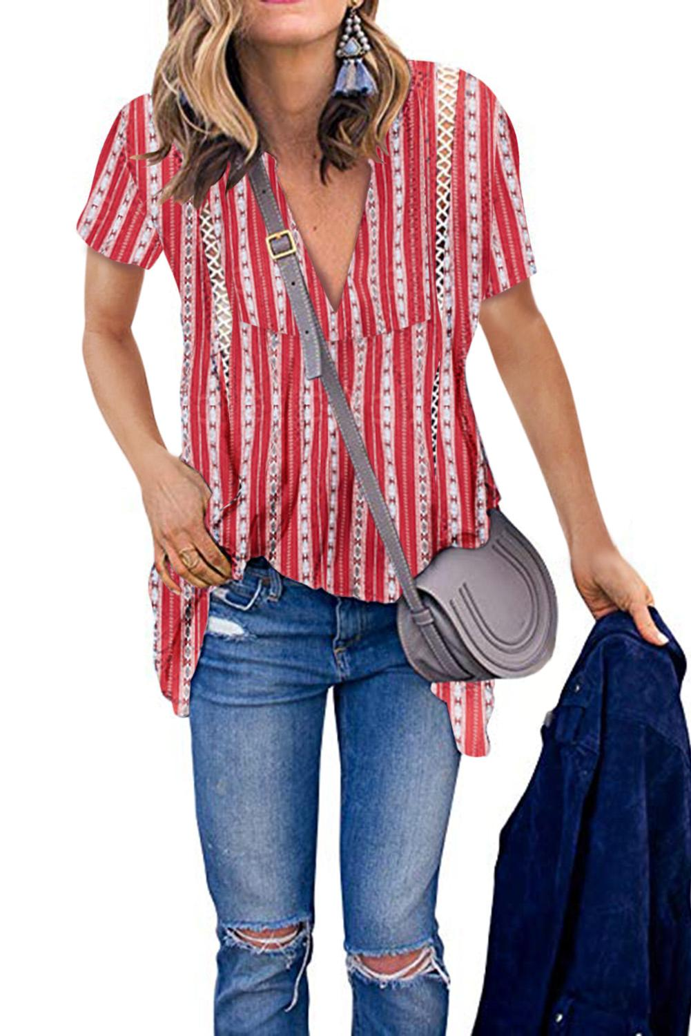 Red Boho Floral Printed V Neck Short Sleeve Blouse
