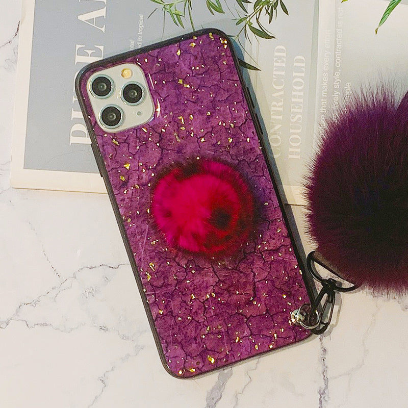Glittering Sequin Decorate iPhone Case with Phone Holder and Double Pom-pom