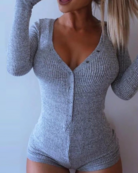 Solid Ribbed Long Sleeve Button Design Romper Bodysuit