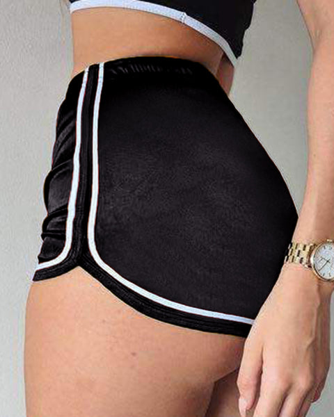 Solid Contrast Binding Elastic Waist Sports Shorts gallery 2
