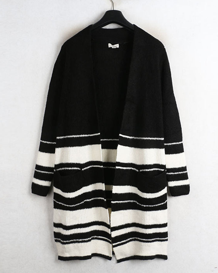 Striped Rib-Knit Dual Pocket Open Front Cardigan gallery 3