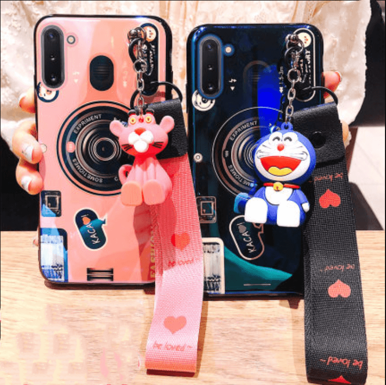 Camera Print Cartoon Figure Phone Case for Samsung with Hand Strap