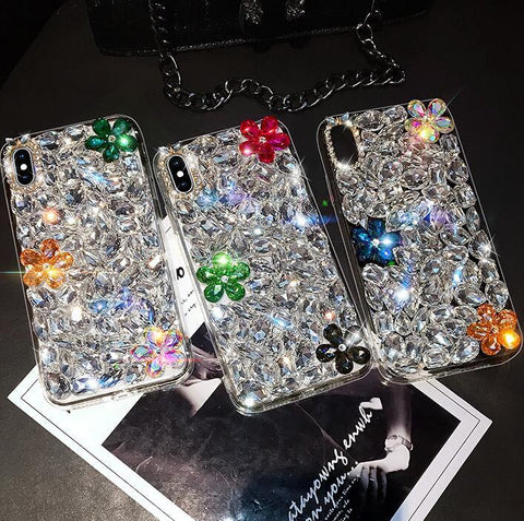 Glittering Floral Rhinestone Phone Case for Samsung gallery 3