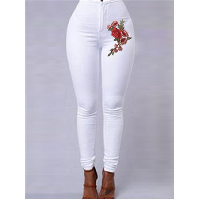 Floral Pattern High Waist Skinny Jeans