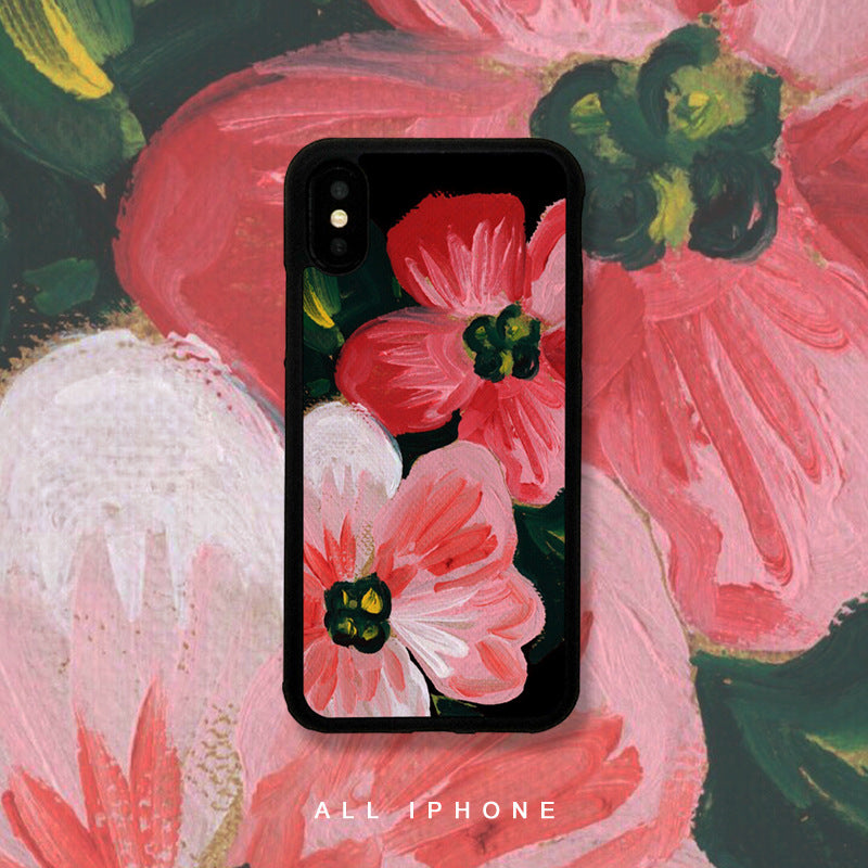 Strawberries and Flowers Pattern iPhone Case