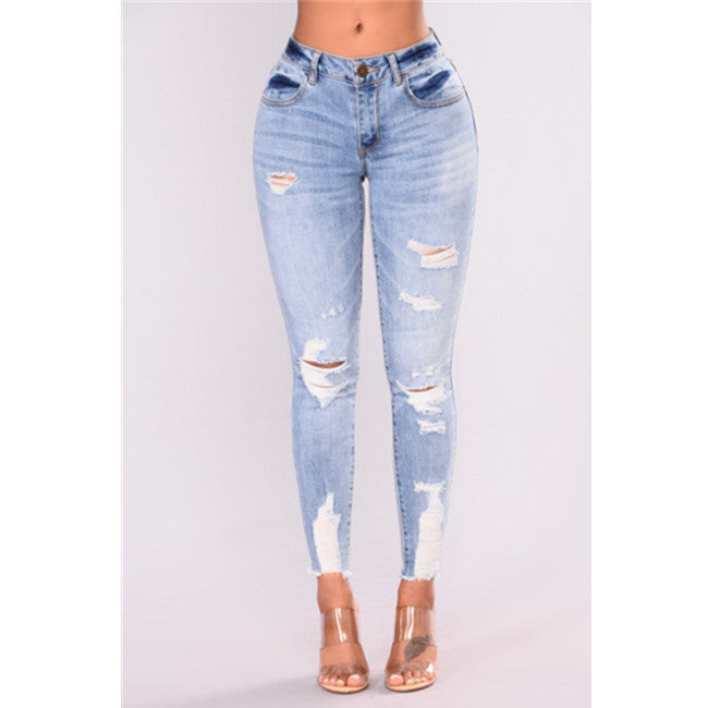 High Waist Ripped Pencil Jeans