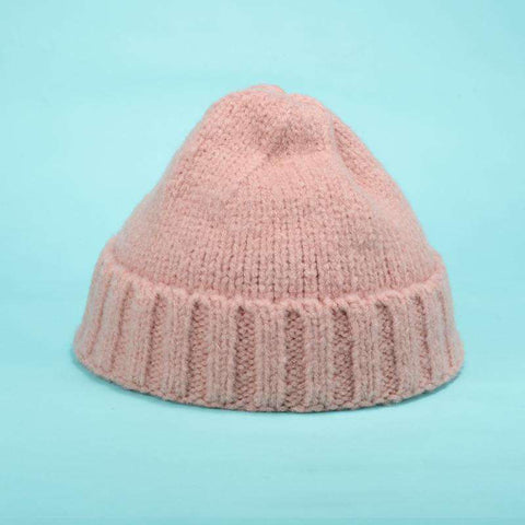 Solid-color Stitch Knit Beanie Hat gallery 1