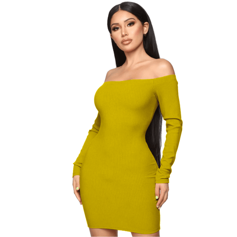 Shape Off Shoulder Ribbed Knitted Bodycon Dress gallery 4