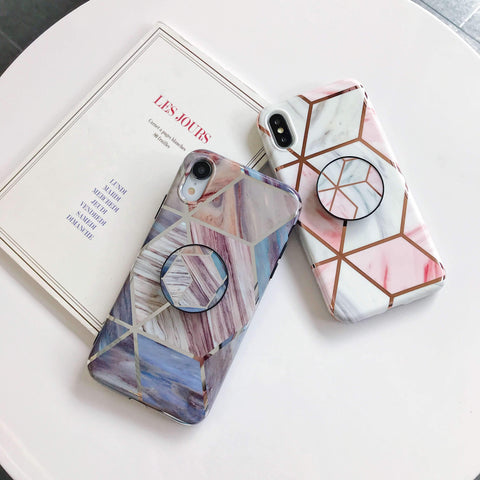 Rhombus Electroplate Marble Phone Case for Samsung with Phone Holder gallery 6