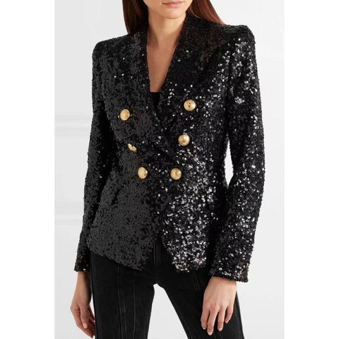 Full Sequin Double Breasted Oversized Blazer