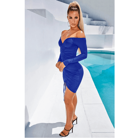 Solid Off Shoulder Drawstring Front Long Sleeve Mini Dress gallery 8