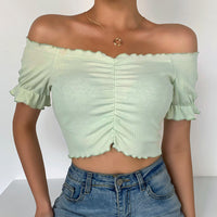 Ribbed Ruched Bust Frill Hem Bardot Neckline Crop Top
