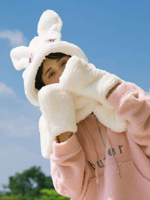 Women's Winter Rabbit Ear Fluffy Hat, Scarf, and Gloves Come in Three Pieces gallery 3