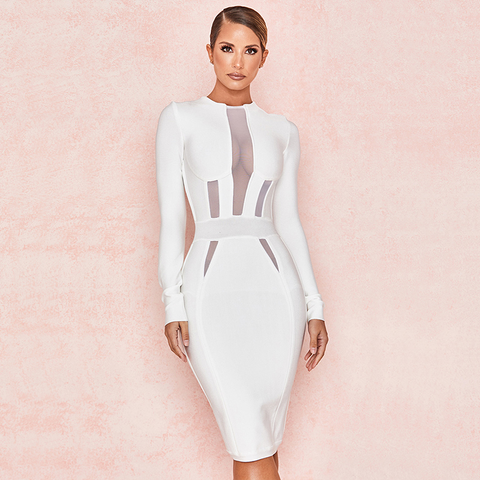 White Round Neck Cup Detail Mesh Insert Bodycon Dress