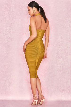Deep V Neck Ribbed Bandage Halter Dress