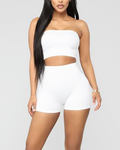 Solid Ribbed High Waist Shorts gallery 15