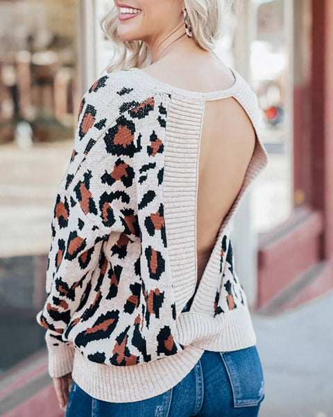 Cut Out Back Rib-Knit Leopard Sweater