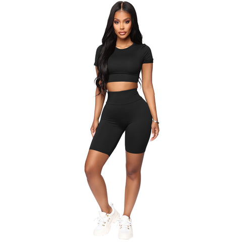 Round Neck Lace-Up Back High Waist Cropped Top & Short Set gallery 7