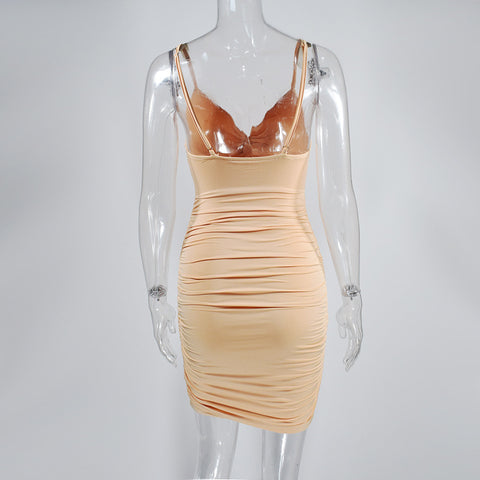 Sexy Ruched Deep-V Cut Front Bodycon Dress gallery 12