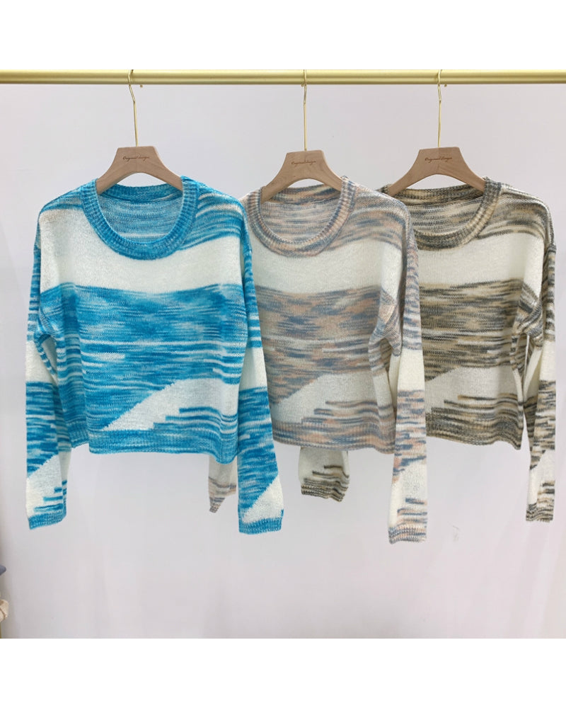 Cut And Sew Panel Space Dye Sweater