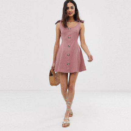 Slimming Bow Tie Button Sleeveless Sling Dress gallery 3