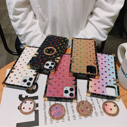 Glittering Little Heart Rivet Deco Square Phone Case for Samsung with Phone Holder gallery 4