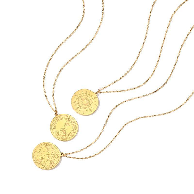 Coin Texture Design Necklace