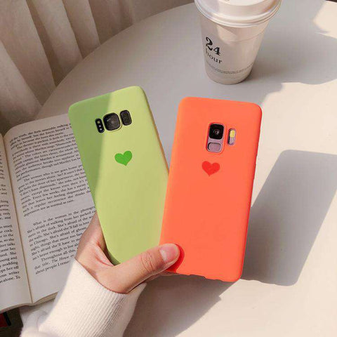 Silicone Solid Candy Color Heart Pattern Samsung Case gallery 1