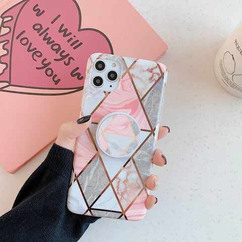 Rhombus Stitching Marble Phone Case for Samsung with Phone Holder gallery 3