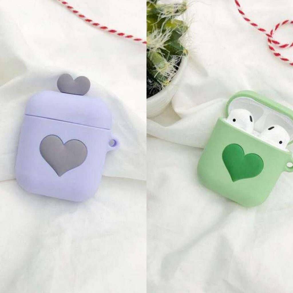 Two Pieces of Heart Print Silicone Protective Cover Cases for Apple AirPods 2