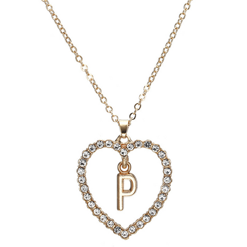 Gold Diamante Heart Shape Initial Pendant Necklace gallery 17