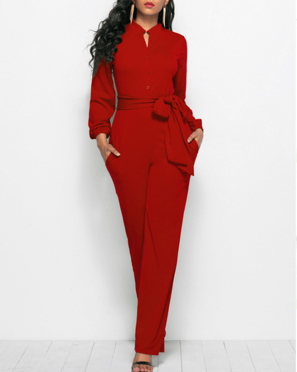 Soild Button Detail Belted Waist Jumpsuit