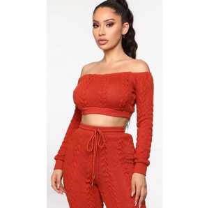 Cozy Off Shoulder Bandeau Cable Knit Top & Pants Set