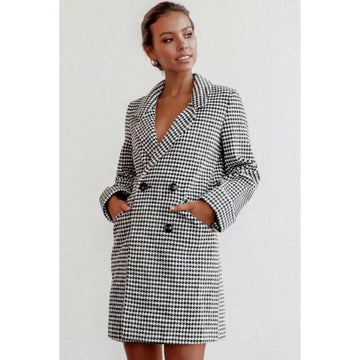 Tiny Houndstooth Fitted Blazer Dress
