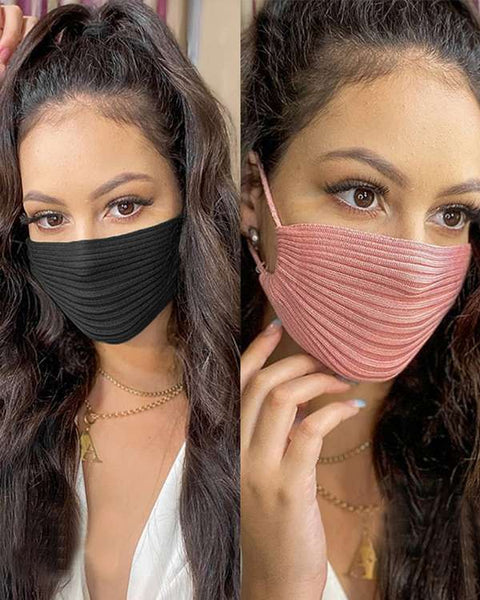 Solid Ribbed Knit Face Mask