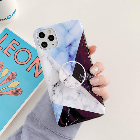 Chic Contrast Color Marble Grains iPhone Case with Phone Holder