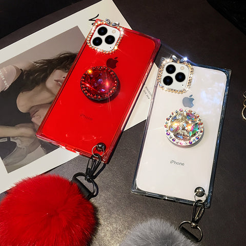 Clear Transparent Square iPhone Case with Phone Holder and Pom-pom