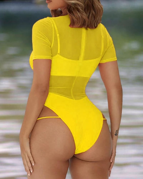 Sheer Mesh Cutout One Piece Swimsuit gallery 9