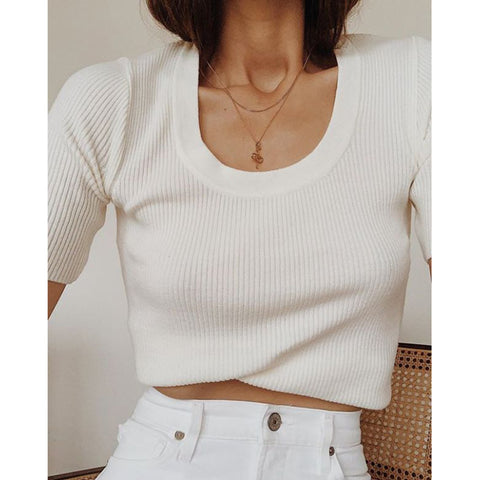 Ivory Scoop Neck Ribbed Short Sleeve Knit Top gallery 3