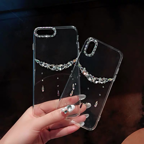 Asymmetric Rhinestone Clear Transparent Phone Case for Samsung gallery 3