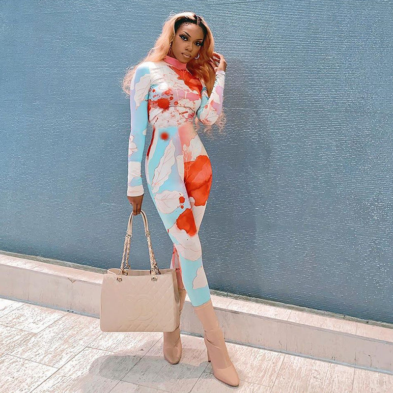 Floral Print Long Sleeve Round Neck Jumpsuit