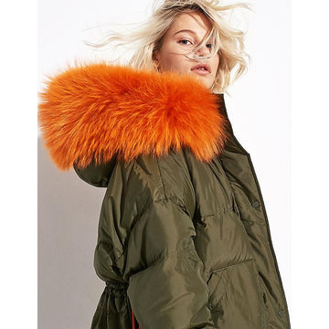 Fashion Large Colorized Fur Collar Mid-Long Oversized Snapped Waist Puffer Jacket